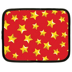 Yellow Stars Red Background Pattern Netbook Case (large)