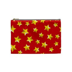 Yellow Stars Red Background Pattern Cosmetic Bag (medium)