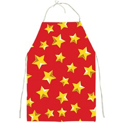 Yellow Stars Red Background Pattern Full Print Aprons