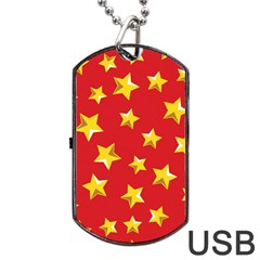 Yellow Stars Red Background Pattern Dog Tag Usb Flash (two Sides)