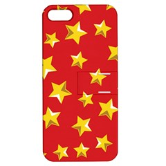 Yellow Stars Red Background Pattern Apple Iphone 5 Hardshell Case With Stand