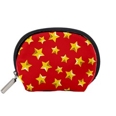 Yellow Stars Red Background Pattern Accessory Pouches (small)