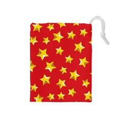 Yellow Stars Red Background Pattern Drawstring Pouches (medium)
