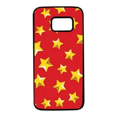 Yellow Stars Red Background Pattern Samsung Galaxy S7 Black Seamless Case