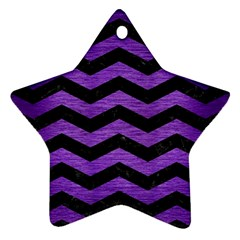 Chevron3 Black Marble & Purple Brushed Metal Star Ornament (two Sides)