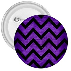 Chevron9 Black Marble & Purple Brushed Metal 3  Buttons
