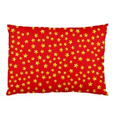 Yellow Stars Red Background Pillow Case (two Sides)