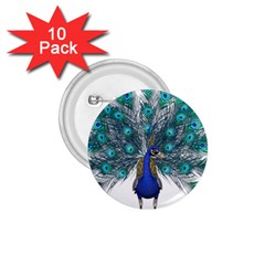 Peacock Bird Peacock Feathers 1 75  Buttons (10 Pack)