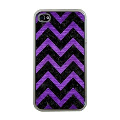 Chevron9 Black Marble & Purple Brushed Metal (r) Apple Iphone 4 Case (clear)