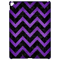 Chevron9 Black Marble & Purple Brushed Metal (r) Apple Ipad Pro 12 9   Hardshell Case