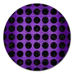 Circles1 Black Marble & Purple Brushed Metal Magnet 5  (round)