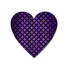 Circles3 Black Marble & Purple Brushed Metal Heart Magnet