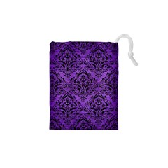 Damask1 Black Marble & Purple Brushed Metal Drawstring Pouches (xs)