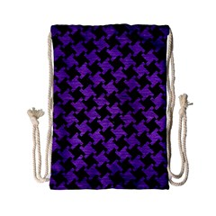 Houndstooth2 Black Marble & Purple Brushed Metal Drawstring Bag (small)