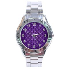 Hexagon1 Black Marble & Purple Brushed Metal Stainless Steel Analogue Watch