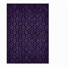 Hexagon1 Black Marble & Purple Brushed Metal (r) Large Garden Flag (two Sides)