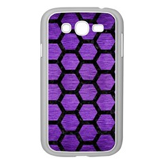 Hexagon2 Black Marble & Purple Brushed Metal Samsung Galaxy Grand Duos I9082 Case (white)