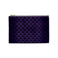 Scales2 Black Marble & Purple Brushed Metal (r) Cosmetic Bag (medium)