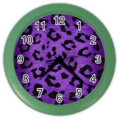 Skin5 Black Marble & Purple Brushed Metal (r) Color Wall Clocks