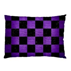 Square1 Black Marble & Purple Brushed Metal Pillow Case (two Sides)