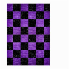 Square1 Black Marble & Purple Brushed Metal Small Garden Flag (two Sides)