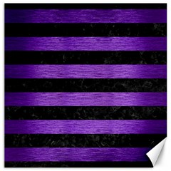 Stripes2 Black Marble & Purple Brushed Metal Canvas 12  X 12