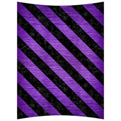 Stripes3 Black Marble & Purple Brushed Metal Back Support Cushion