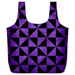 Triangle1 Black Marble & Purple Brushed Metal Full Print Recycle Bags (l)
