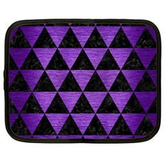 Triangle3 Black Marble & Purple Brushed Metal Netbook Case (large)