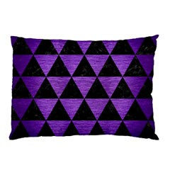 Triangle3 Black Marble & Purple Brushed Metal Pillow Case (two Sides)