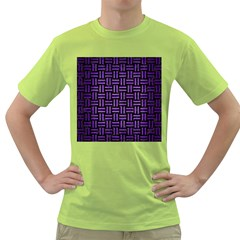 Woven1 Black Marble & Purple Brushed Metal (r) Green T Shirt
