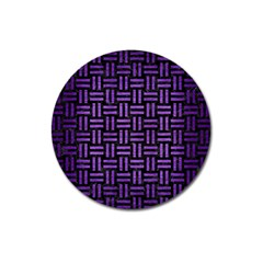 Woven1 Black Marble & Purple Brushed Metal (r) Magnet 3  (round)