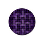 WOVEN1 BLACK MARBLE & PURPLE BRUSHED METAL (R) Magnet 3  (Round) Front