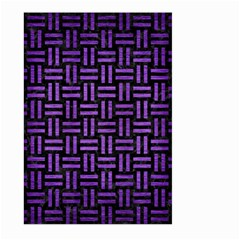Woven1 Black Marble & Purple Brushed Metal (r) Large Garden Flag (two Sides)