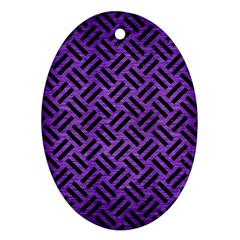 Woven2 Black Marble & Purple Brushed Metalwoven2 Black Marble & Purple Brushed Metal Oval Ornament (two Sides)