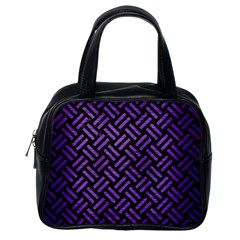 Woven2 Black Marble & Purple Brushed Metal (r) Classic Handbags (one Side)