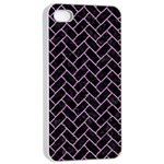 BRICK2 BLACK MARBLE & PURPLE COLORED PENCIL (R) Apple iPhone 4/4s Seamless Case (White) Front