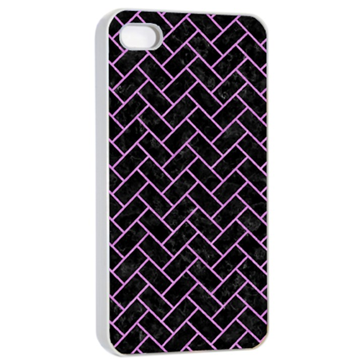 BRICK2 BLACK MARBLE & PURPLE COLORED PENCIL (R) Apple iPhone 4/4s Seamless Case (White)
