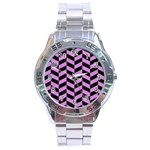 CHEVRON1 BLACK MARBLE & PURPLE COLORED PENCIL Stainless Steel Analogue Watch Front