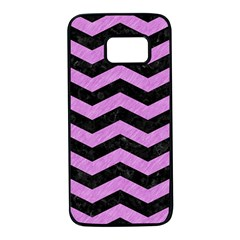 Chevron3 Black Marble & Purple Colored Pencil Samsung Galaxy S7 Black Seamless Case