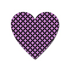 Circles3 Black Marble & Purple Colored Pencil Heart Magnet