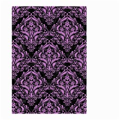 Damask1 Black Marble & Purple Colored Pencil (r) Small Garden Flag (two Sides)