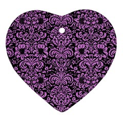Damask2 Black Marble & Purple Colored Pencil (r) Heart Ornament (two Sides)