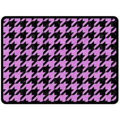 Houndstooth1 Black Marble & Purple Colored Pencil Double Sided Fleece Blanket (large)