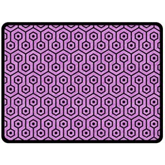 Hexagon1 Black Marble & Purple Colored Pencil Double Sided Fleece Blanket (large)