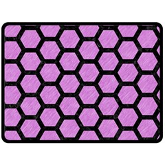 Hexagon2 Black Marble & Purple Colored Pencil Double Sided Fleece Blanket (large)