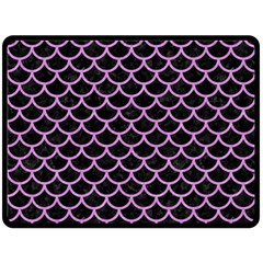 Scales1 Black Marble & Purple Colored Pencil (r) Double Sided Fleece Blanket (large)