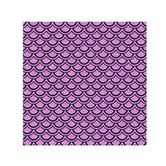 Scales2 Black Marble & Purple Colored Pencil Small Satin Scarf (square)