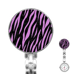 Skin3 Black Marble & Purple Colored Pencil (r) Stainless Steel Nurses Watch