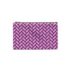 Brick2 Black Marble & Pink Colored Pencil Cosmetic Bag (small)